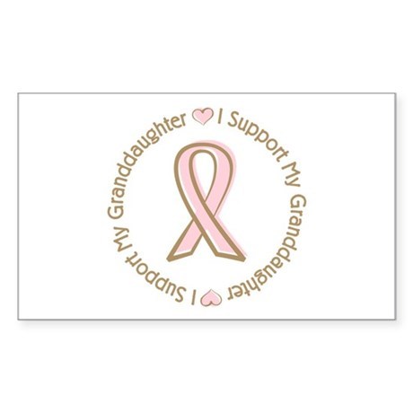 Breast Cancer Support Granddaughter Sticker (Recta