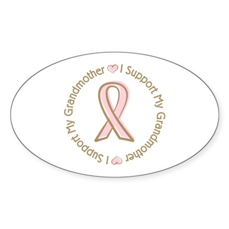 Breast Cancer Support Grandmother Sticker (Oval 50