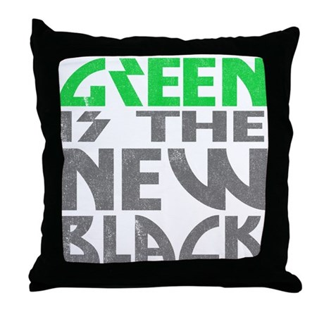Green is the New Black Throw Pillow