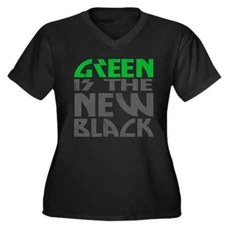Green is the New Black Womens Plus Size V-Neck Da