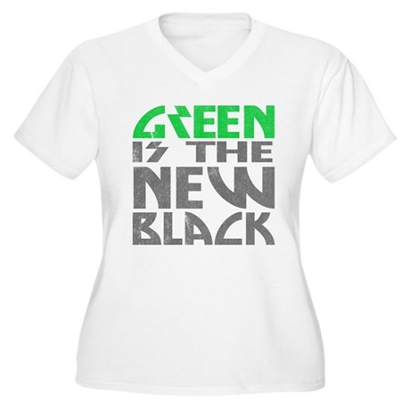 Green is the New Black Womens Plus Size V-Neck T-