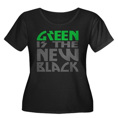 Green is the New Black Womens Plus Size Scoop Nec