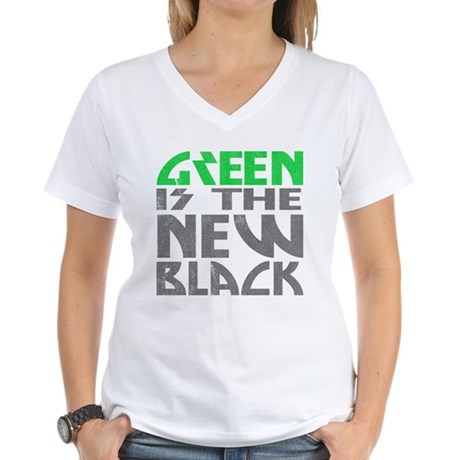 Green is the New Black Womens V-Neck T-Shirt