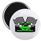 LIME GREEN RACE CAR 2.25&quot; Magnet (100 pack)
