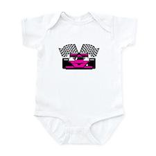 HOT PINK RACE CAR Infant Bodysuit
