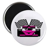 HOT PINK RACE CAR Magnet