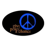 Give Peace a Chance - Blue &amp; Orange Oval Decal