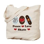 Peace Love Skate Skateboard Tote Bag