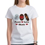 Peace Love Skate Skateboard Women's T-Shirt