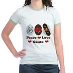 Peace Love Skate Skateboard Jr. Ringer T-Shirt