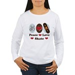 Peace Love Skate Skateboard Women's Long Sleeve T-