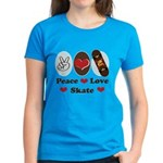 Peace Love Skate Skateboard Women's Dark T-Shirt