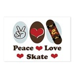 Peace Love Skate Skateboard Postcards 8 Pack