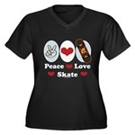 Peace Love Skate Skateboard Women's Plus Size V-Ne