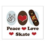 Peace Love Skate Skateboard Small Poster
