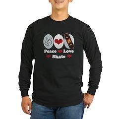 Peace Love Skate Skateboard Long Sleeve Dark T-Shi
