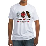 Peace Love Skate Skateboard Fitted T-Shirt