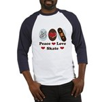 Peace Love Skate Skateboard Baseball Jersey