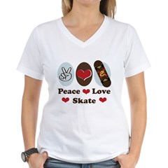 Peace Love Skate Skateboard Women's V-Neck T-Shirt