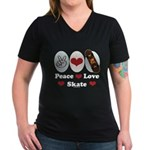 Peace Love Skate Skateboard Women's V-Neck Dark T-