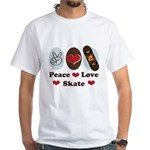 Peace Love Skate Skateboard White T-Shirt