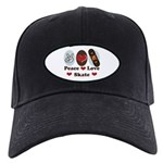Peace Love Skate Skateboard Black Cap