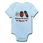 Peace Love Skate Skateboard Infant Bodysuit