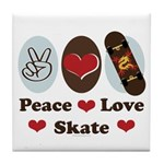 Peace Love Skate Skateboard Tile Coaster