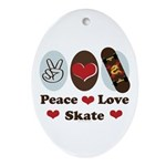 Peace Love Skate Skateboard Oval Ornament
