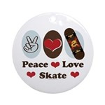 Peace Love Skate Skateboard Ornament (Round)