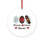 Peace Love Skate Skateboard Ornament (Round)