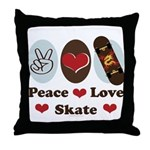 Peace Love Skate Skateboard Throw Pillow