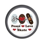 Peace Love Skate Skateboard Wall Clock