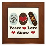 Peace Love Skate Skateboard Framed Tile