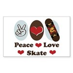 Peace Love Skate Skateboard Rectangle Sticker