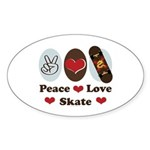 Peace Love Skate Skateboard Oval Sticker