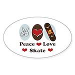 Peace Love Skate Skateboard Oval Sticker (50 pk)