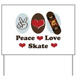 Peace Love Skate Skateboard Yard Sign