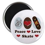 Peace Love Skate Skateboard Magnet