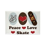 Peace Love Skate Skateboard Rectangle Magnet (10 p