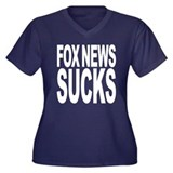 Fox News Sucks Women's Plus Size V-Neck Dark T-Shi