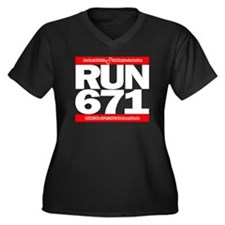 RUN 671 GUAM Women's Plus Size V-Neck Dark T-Shirt