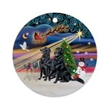 Xmas Magic - 2 Flat Coated Retrvr Ornament (Round)