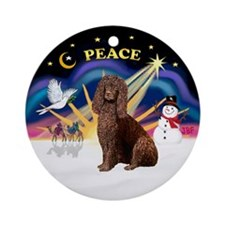Xmas Sunrise-Irish Water Spaniel Ornament (Round)