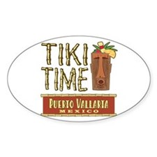Puerto Vallarta Tiki Time - Oval Decal
