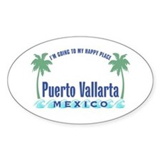 Puerto Vallarta Happy Place - Oval Decal