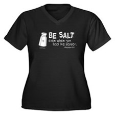 Be Salt Women's Plus Size V-Neck Dark T-Shirt