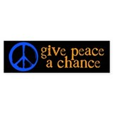 Give Peace a Chance - Blue & Orange Bumper Sticker