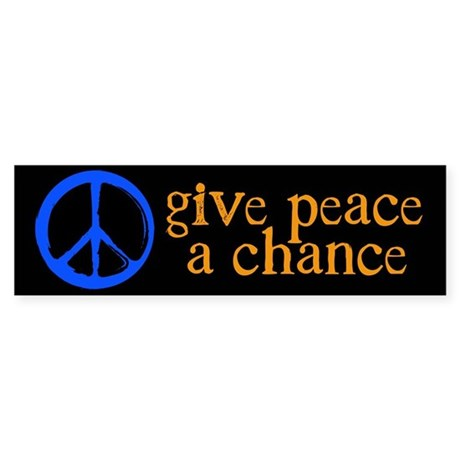 Give Peace a Chance - Blue & Orange Sticker (B