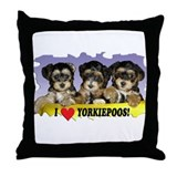 Black Yorkiepoo Puppy Throw Pillow
